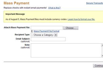 Send Mass Payment